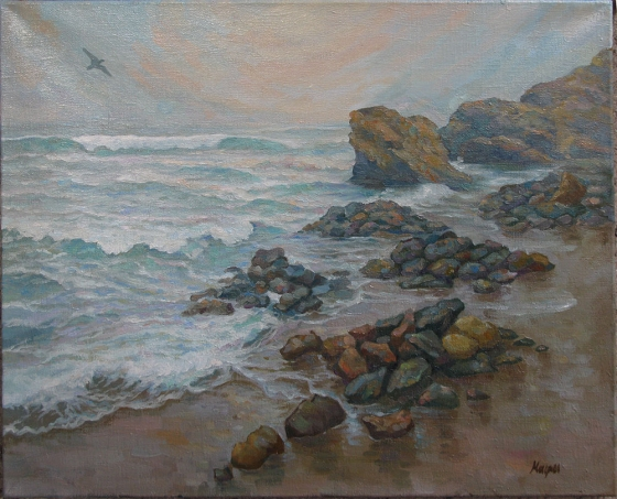 "Oil painting ""Dolphin Beach"" 50x60cm."