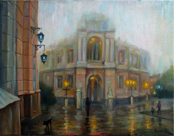 "Oil painting ""Opera in the Fog"" 45x35cm."