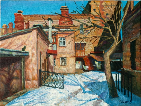"Oil painting ""Odessa courtyard in winter"" 30x40cm."