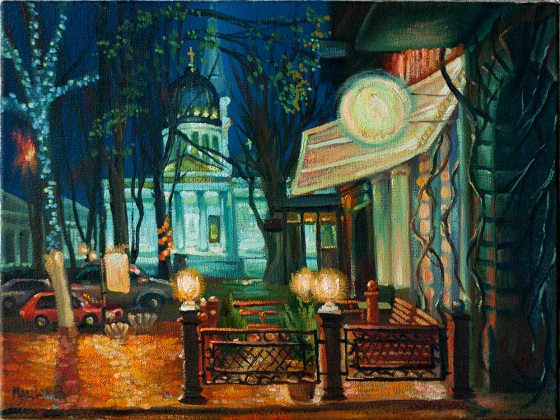 "Oil painting ""Evening in Odessa"" 30x40cm."